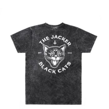 Tee Shirt Jacker Black Cats Stonewash